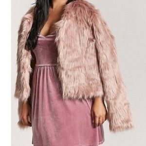 6cae56f0736 Forever 21 Plus Faux Fur Coat in Dusty Rose Pink